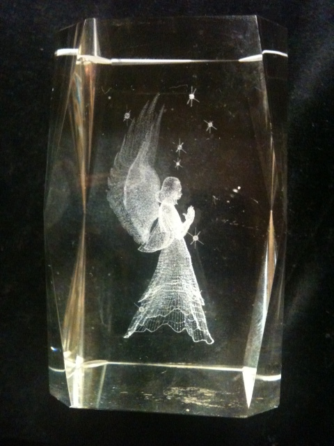 Angel Laser Etched 3d Crystal Glass Angel Paperweight