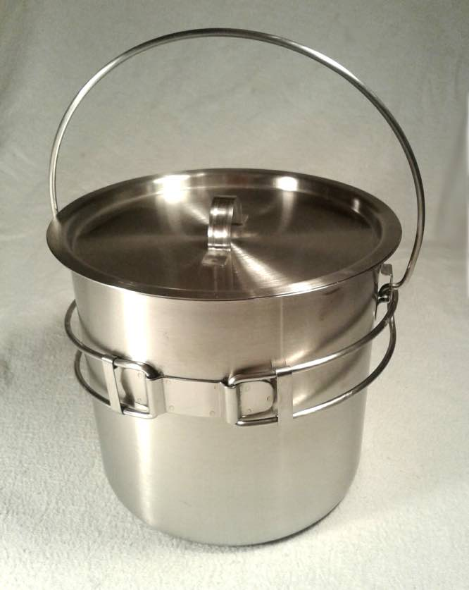 52 68 ounce stainless steel camping pot cooking kettle perfect bushcraft pot ebay. Black Bedroom Furniture Sets. Home Design Ideas